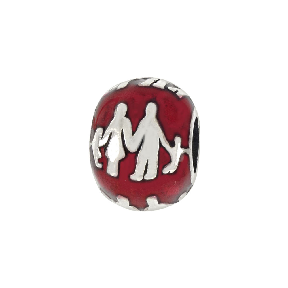 Sterling Silver Red Enamel Happy Family  Bead Charm Pendant