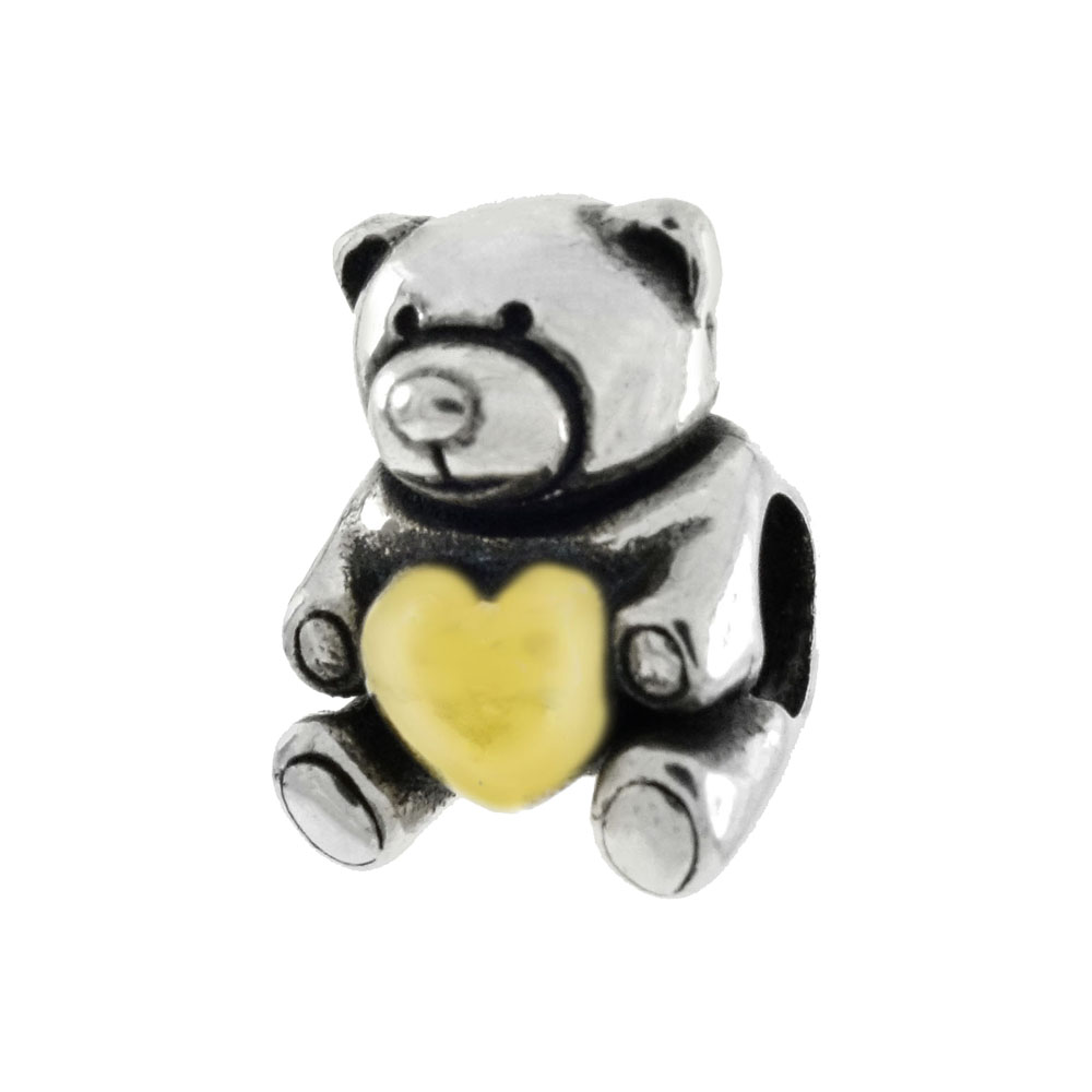 Sterling Silver Teddy Bear W. Gold Plated Heart Polish Bead Charm Pendant