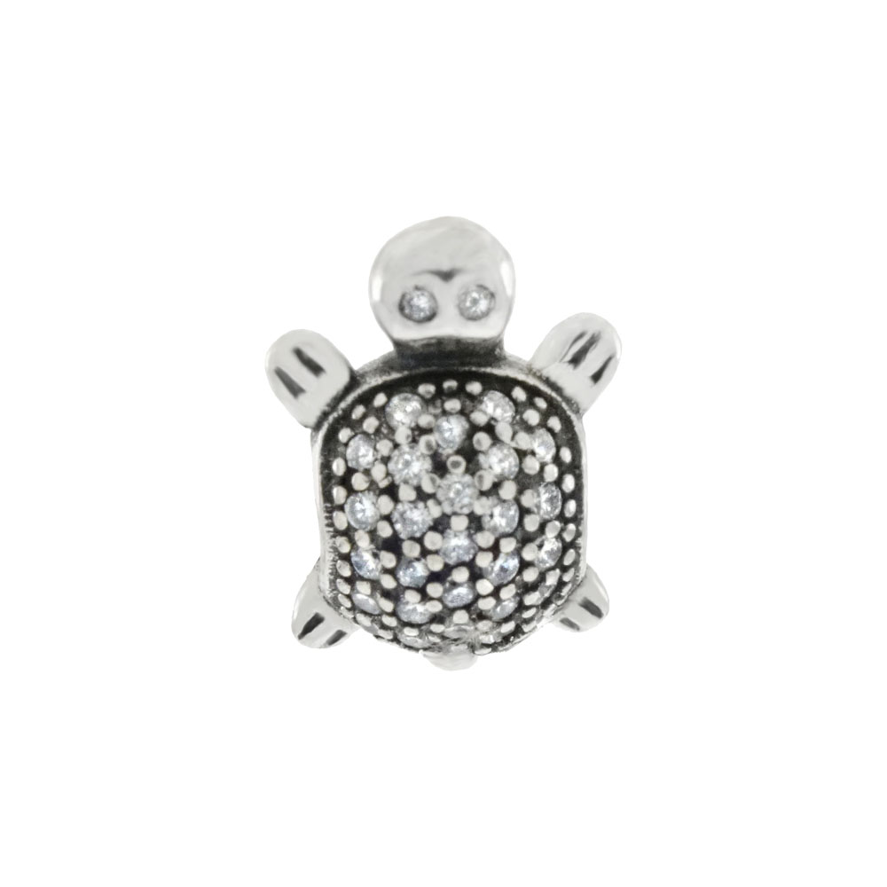 Sterling Silver Pave CZ Turtle Oxidized Bead Charm Pendant