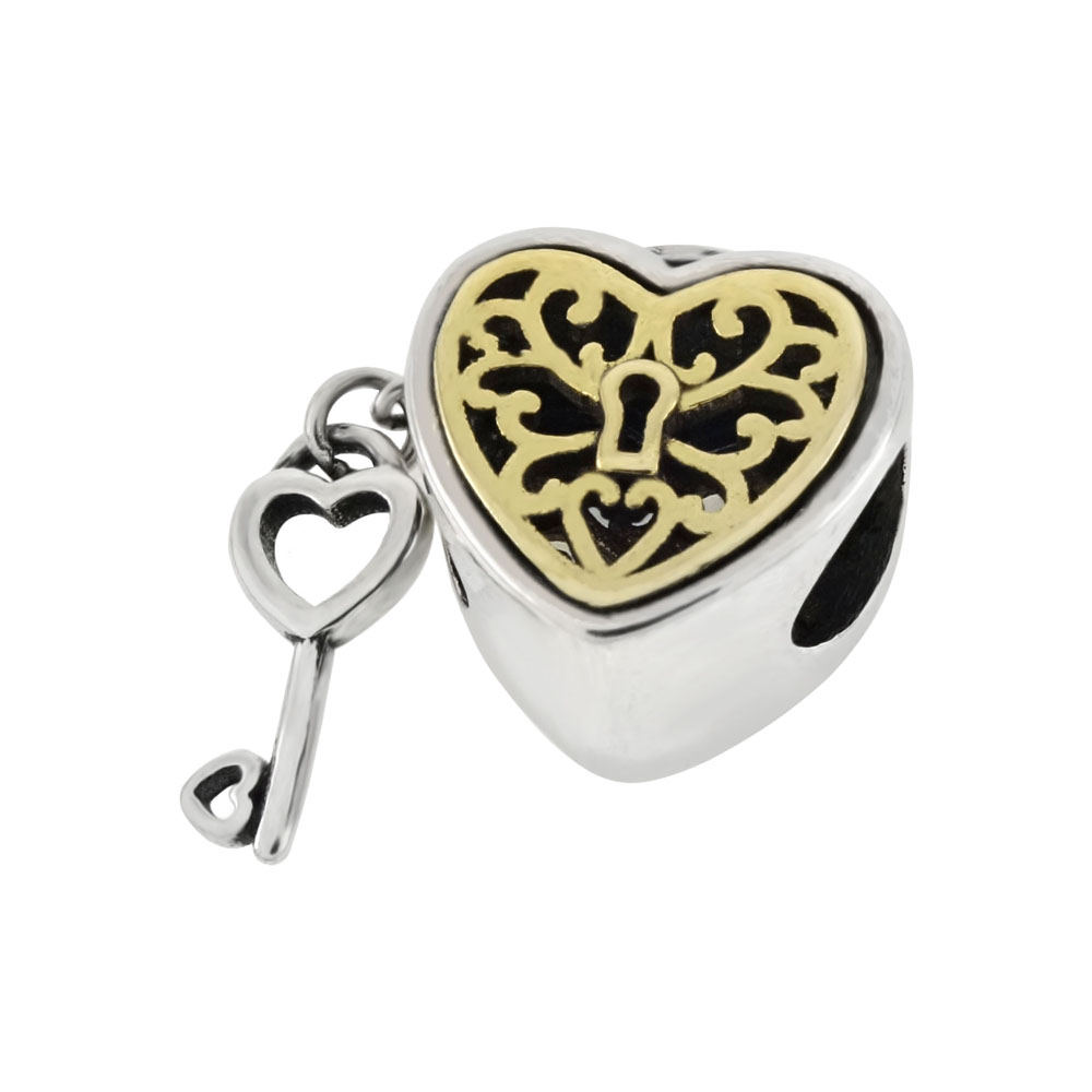 Sterling Silver Bi-Color Key & Heart Bead Charm Pendant