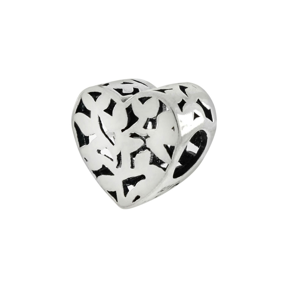 Sterling Silver Heart  Bead Charm Pendant
