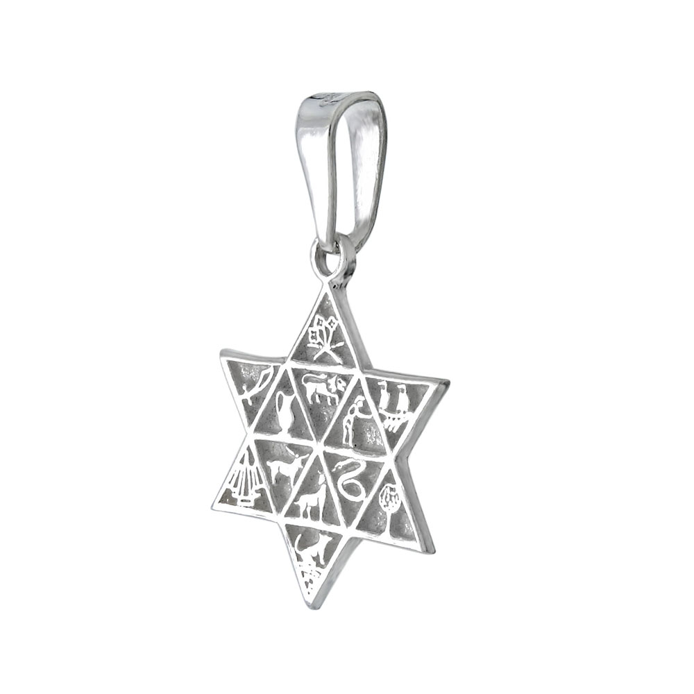 Sterling Silver 12 Tribes of Israel Star of David Pendant