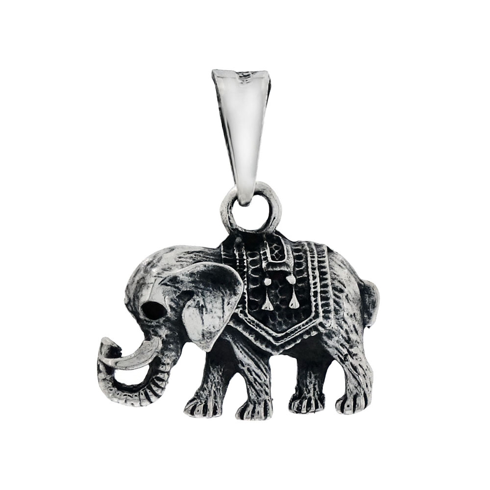 Sterling Silver Elephant Oxidised Pendant