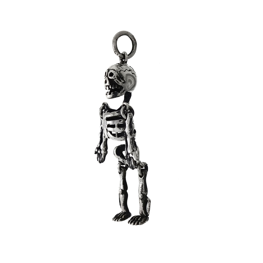 Sterling Silver Skeleton Movable Oxidized Pendant