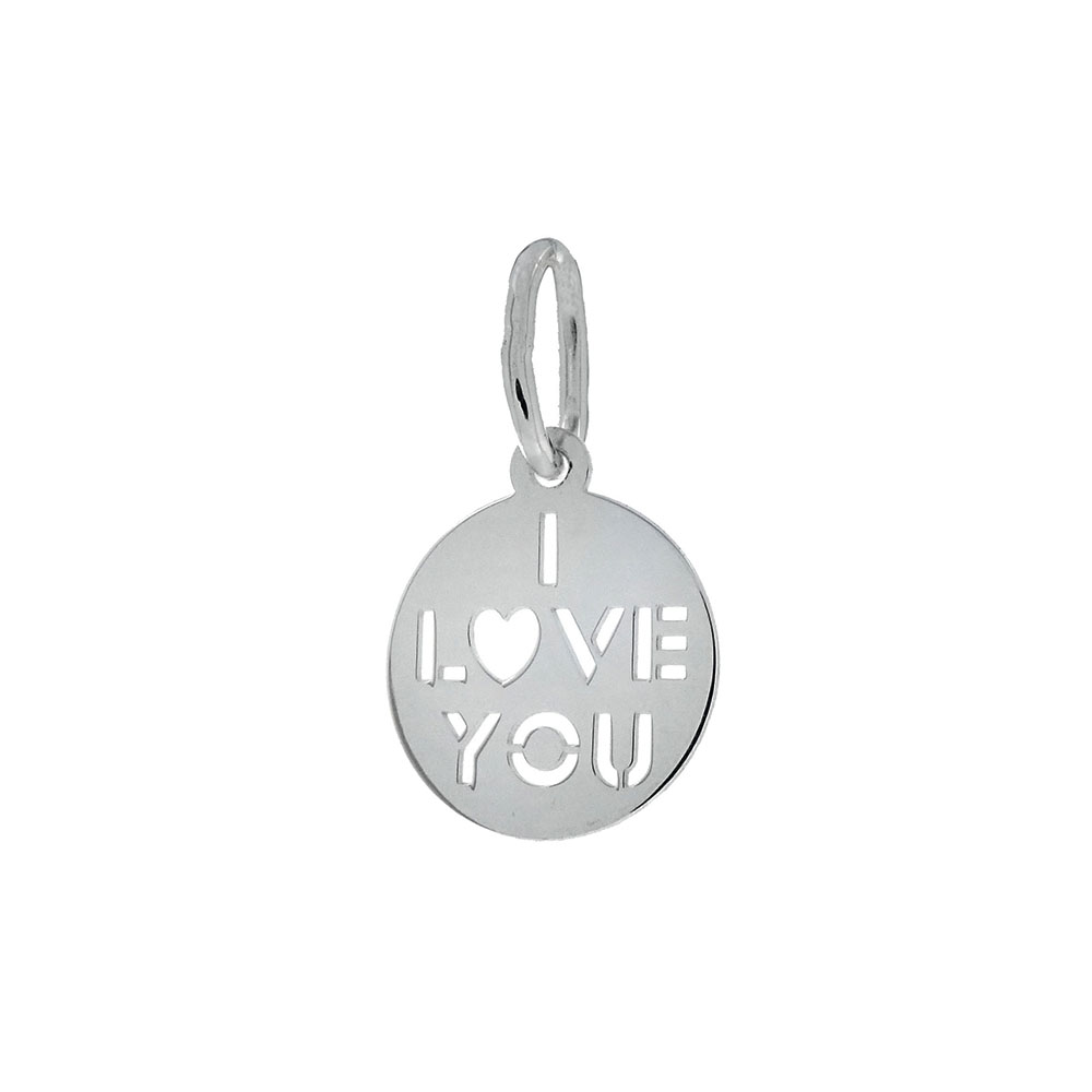 Italian Sterling Silver I LOVE YOU Charm Pendant