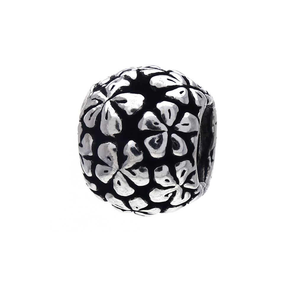 Sterling Silver Flower Oxidized Bead Charm