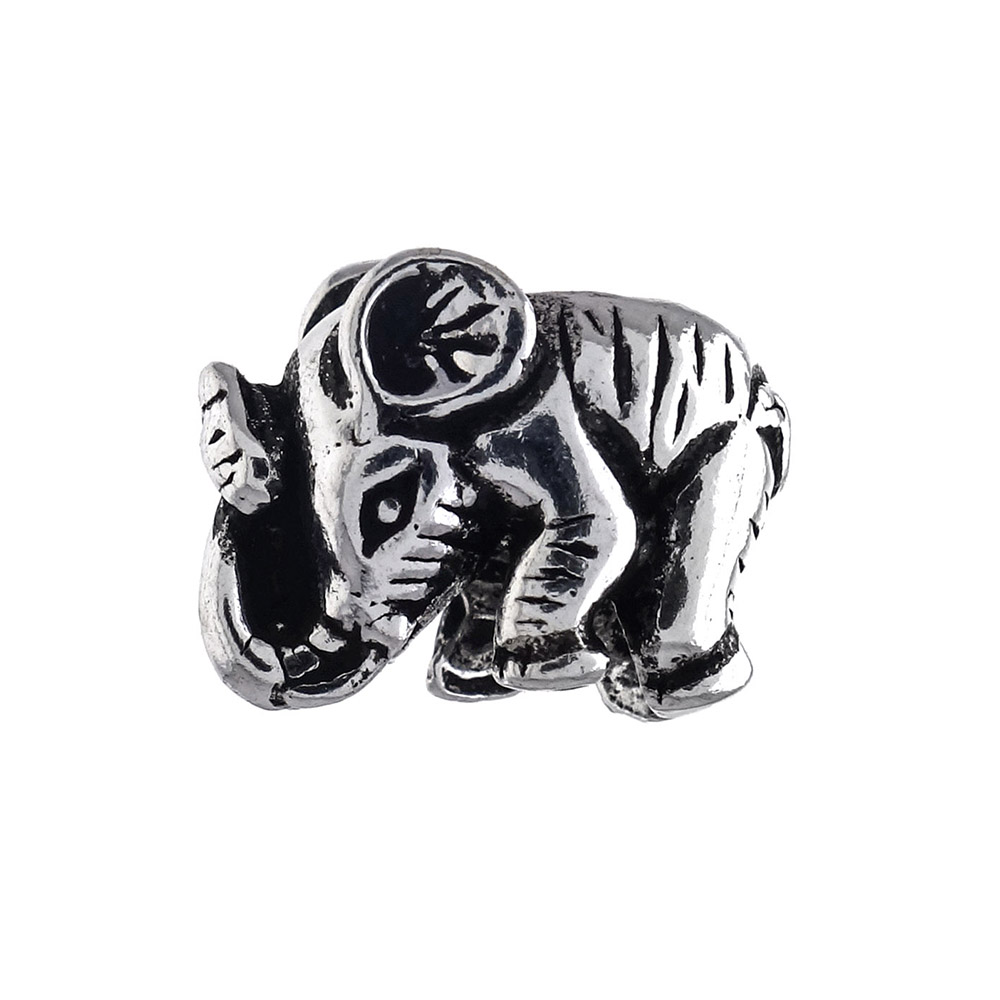 Sterling Silver Elephant Oxidized Bead Charm