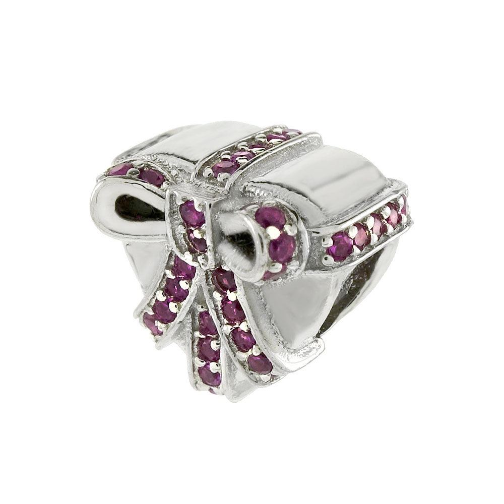 Sterling Silver Red Ribbon Sliding Heart Charm Bead