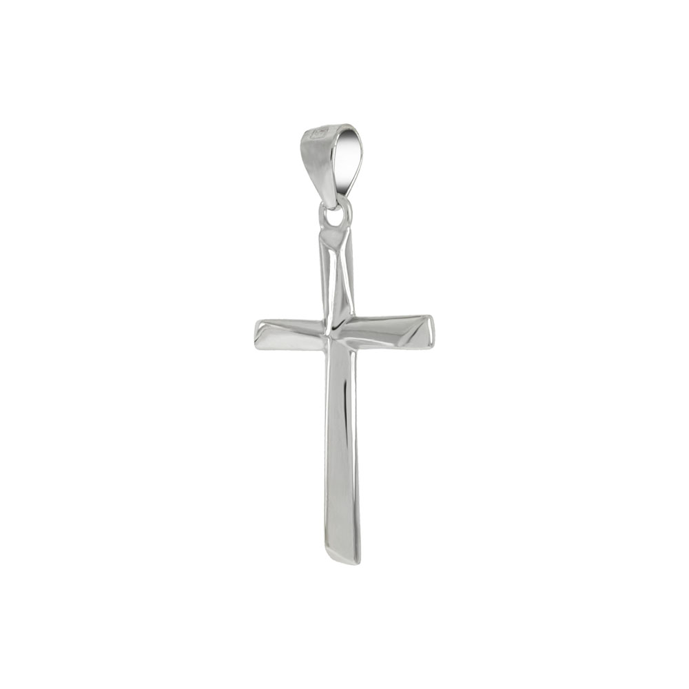 Sterling Silver Rhodium Cross Pendant