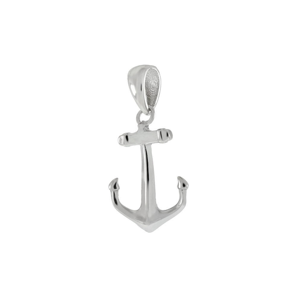 Sterling Silver Anchor Rhodium Pendant