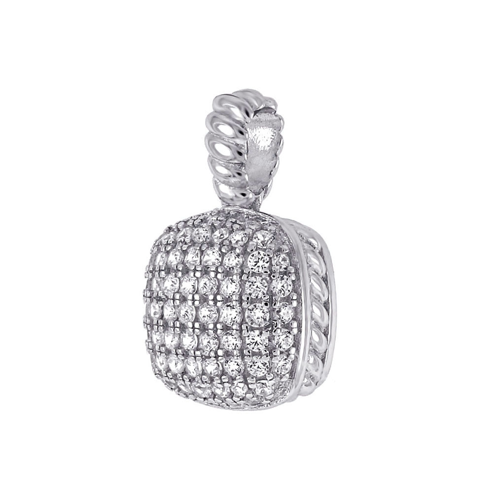 Sterling Silver Cubic Zirconia Micro Pave Pendant