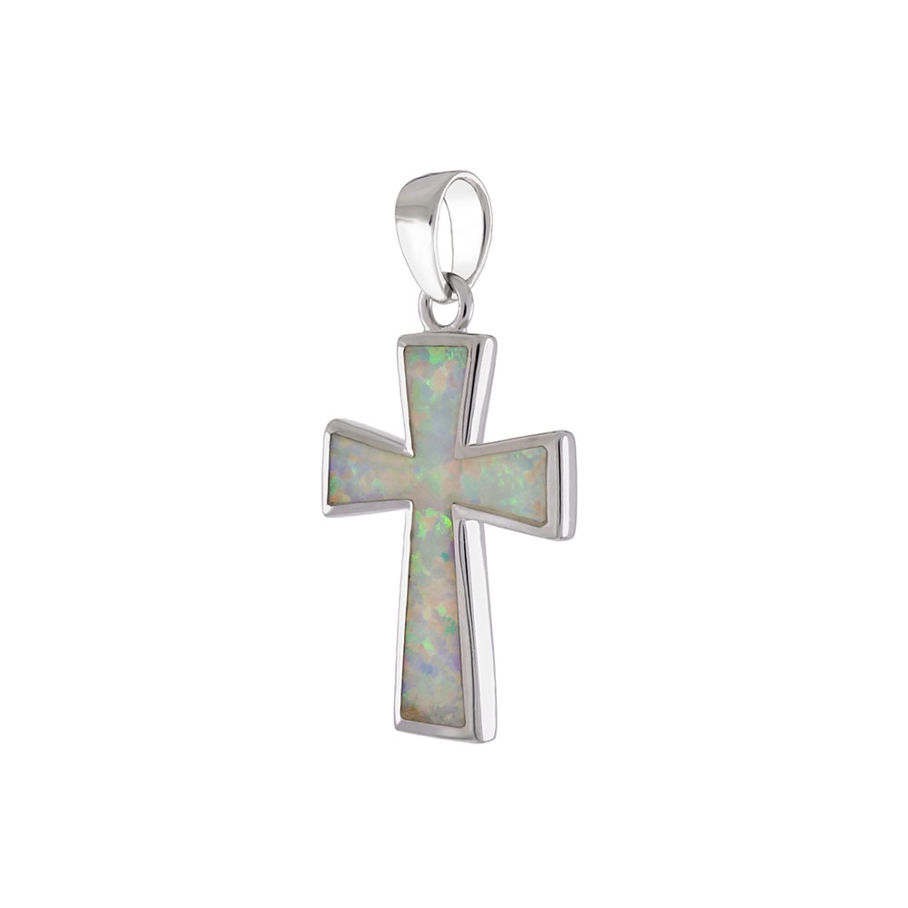 Sterling Silver Simulated White Opal Cross Pendant