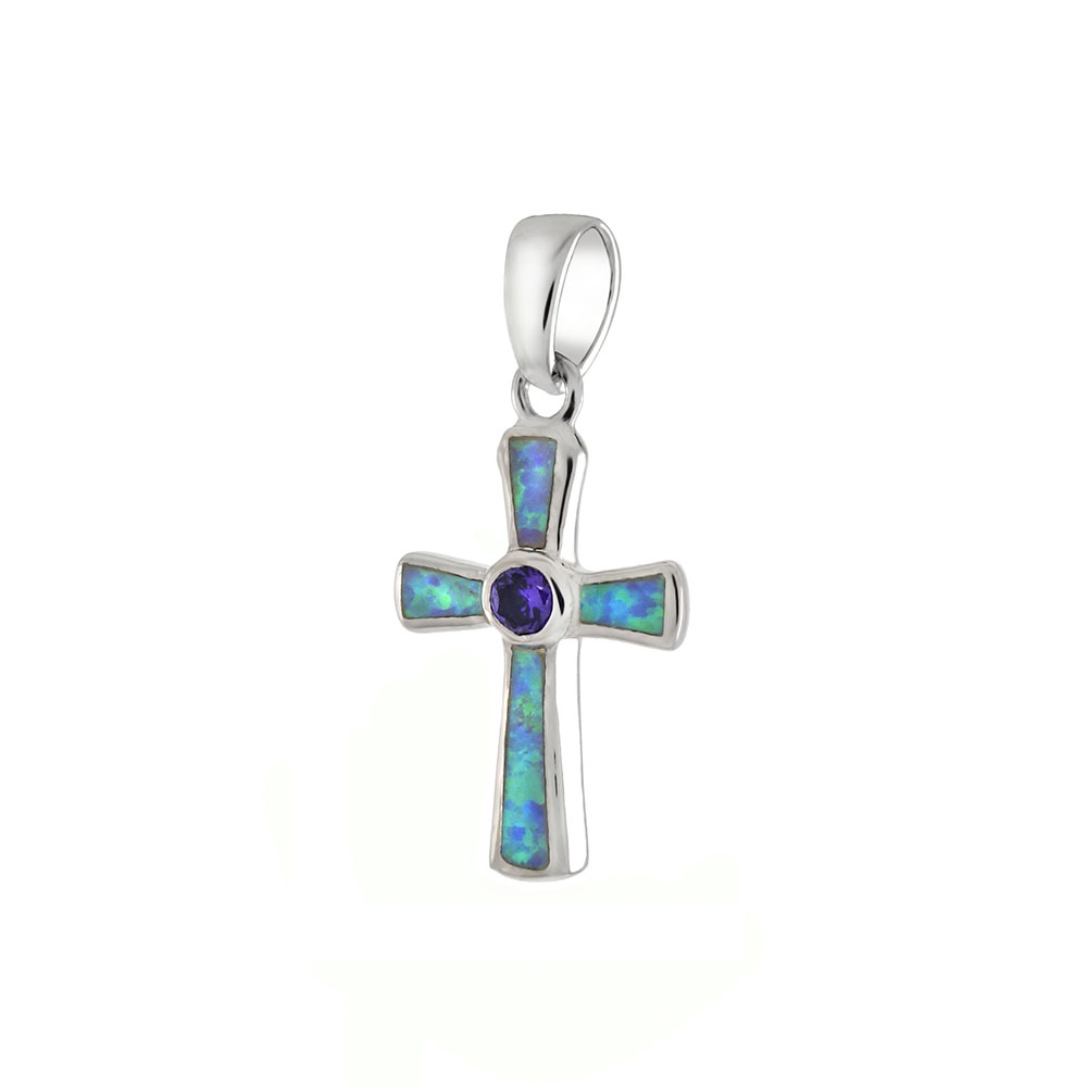 Sterling Silver Simulated Blue Opal / Amethyst Cross Pendant