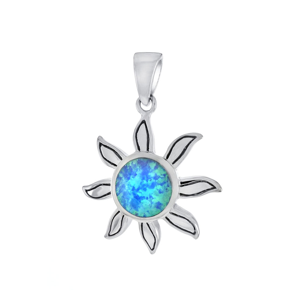 Sterling Silver Simulated Blue Opal Sun Pendant