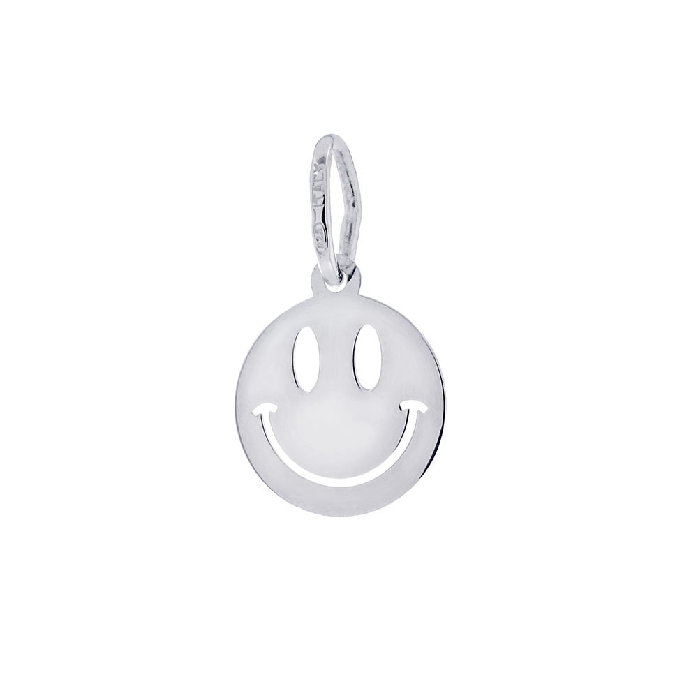 Italian Sterling Silver Happy Face Pendant