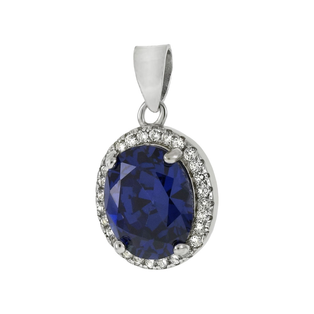 8mmX10mm Oval Simulated Tanzanite CZ Sterling Silver Pendant