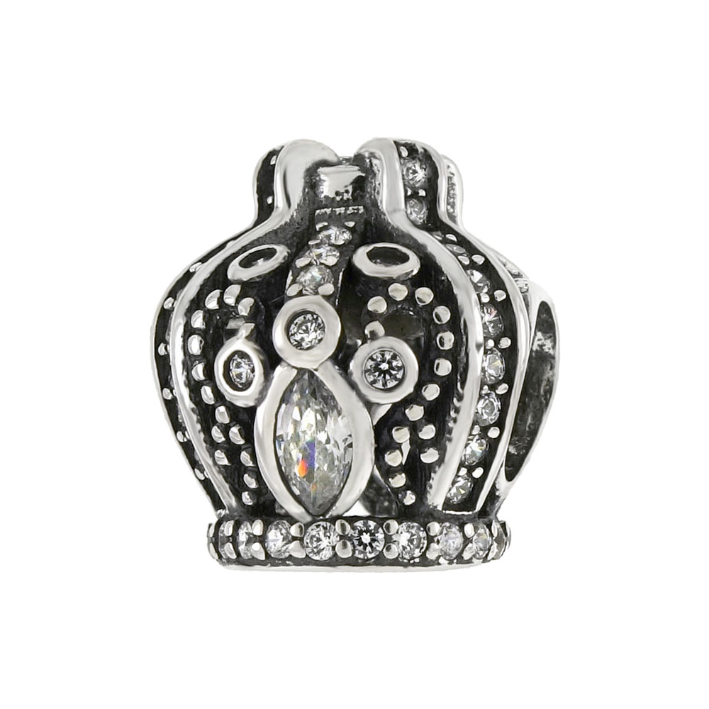 Sterling Silver Oxidized Crown CZ Bead Charm Pendant