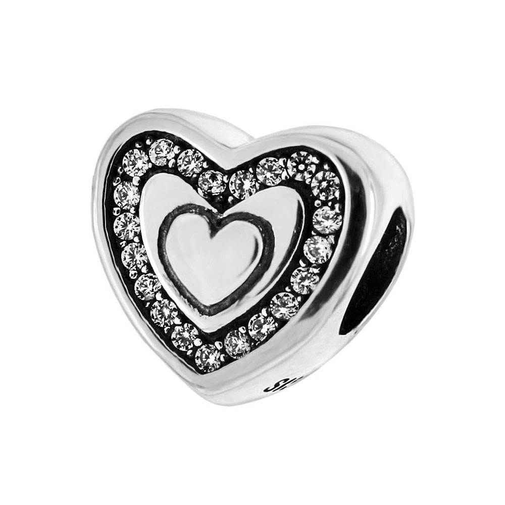 Sterling Silver CZ Heart Bead Charm Pendant