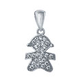 Sterling Silver Girl CZ Pendant