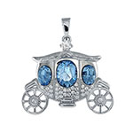 Sterling Silver Cindarella Carriage W. Aquamarine Crystal Pendant
