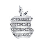 Sterling Silver Cubic Zirconia Apple Pendant