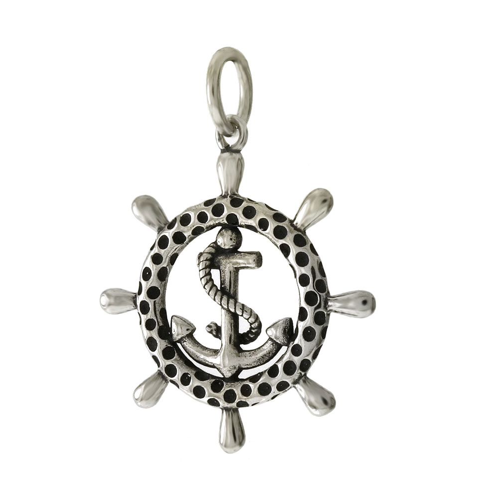 Sterling Silver Mariner Anchor-Wheel Oxidized Pendant