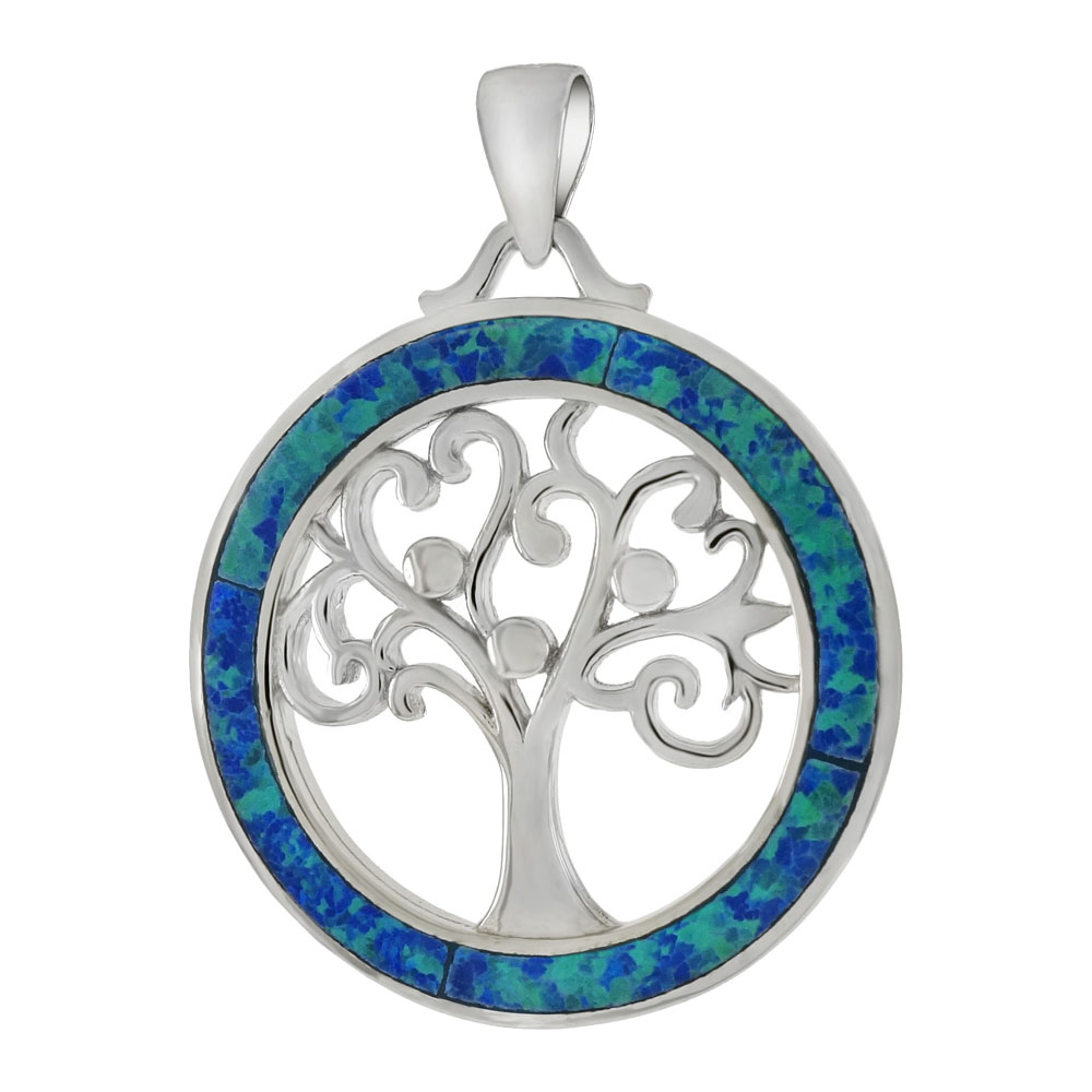 Sterling Silver Tree Of Life Simulated Blue Opal Pendant