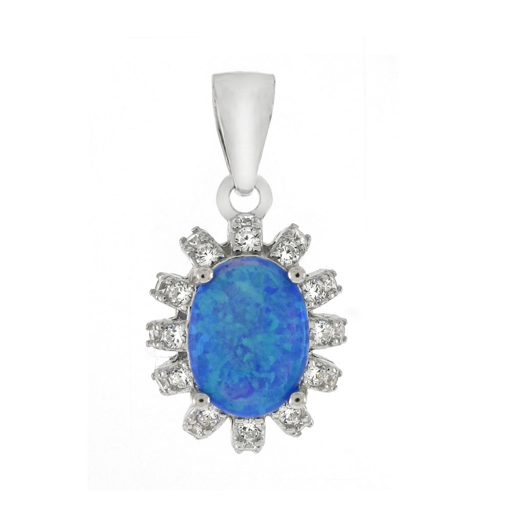Sterling Silver 8X6mm Oval Simulated Blue Opal CZ Pendant