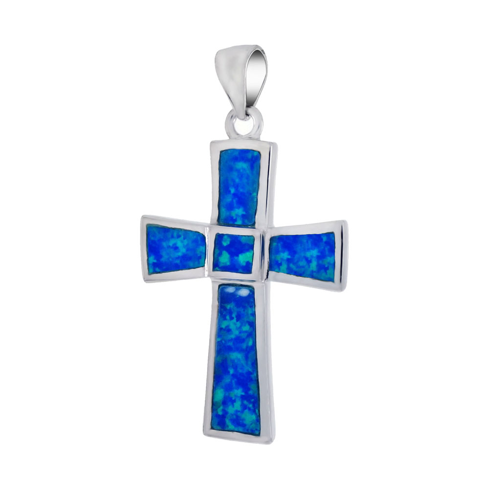 Sterling Silver Simulated Blue Opal Cross Pendant