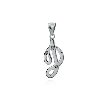Sterling Silver 1MM Round CZ Initial High Polish Pendant
