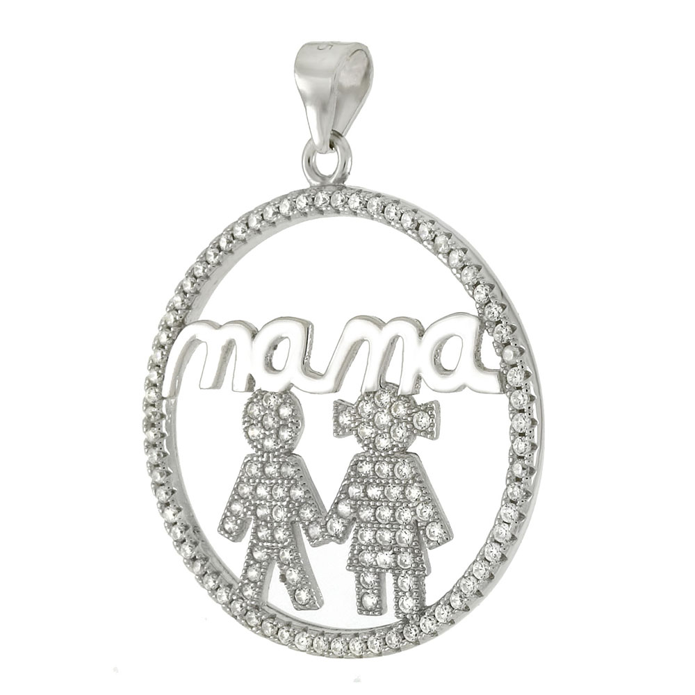 Sterling Silver Circle Of Love Mama & Children CZ Pendant