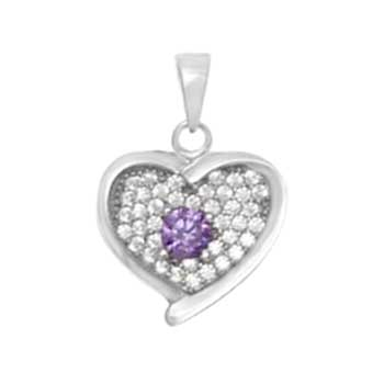 Sterling Silver Pave CZ Amethyst Heart Pendant