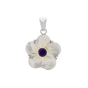 Sterling Silver Flower Crafted Shell W. Amethyst Pendant