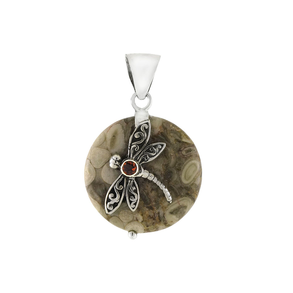 Sterling Silver Dragonfly W. Garnet on Jasper Pendant