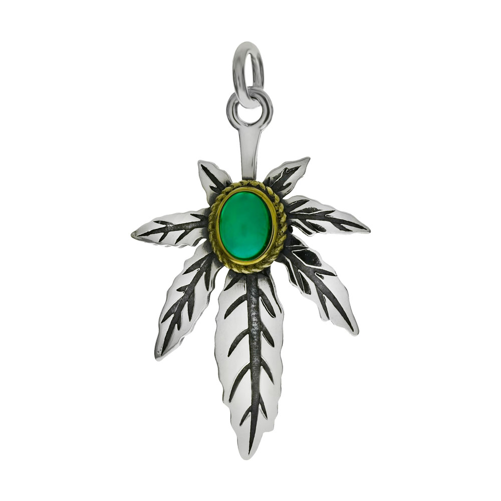 Sterling Silver Oxidized Marijuana Leaf W. Simulated Green Turquoise Pendant