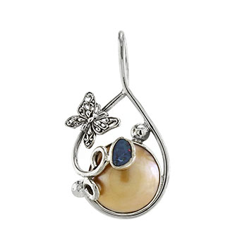 Sterling Silver Mabe Pearl W. Genuine Opal & Butterfly Pendant