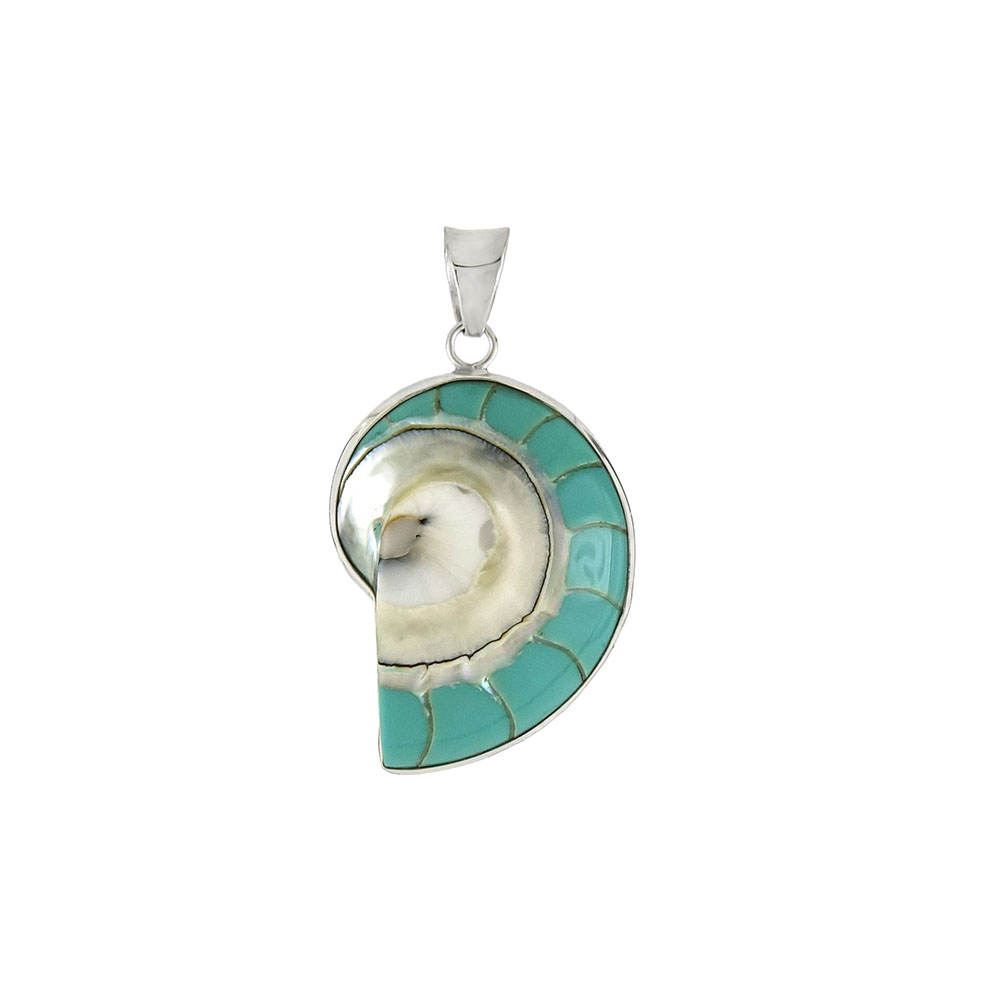 Sterling Silver Turquoise Color Shell Pendant
