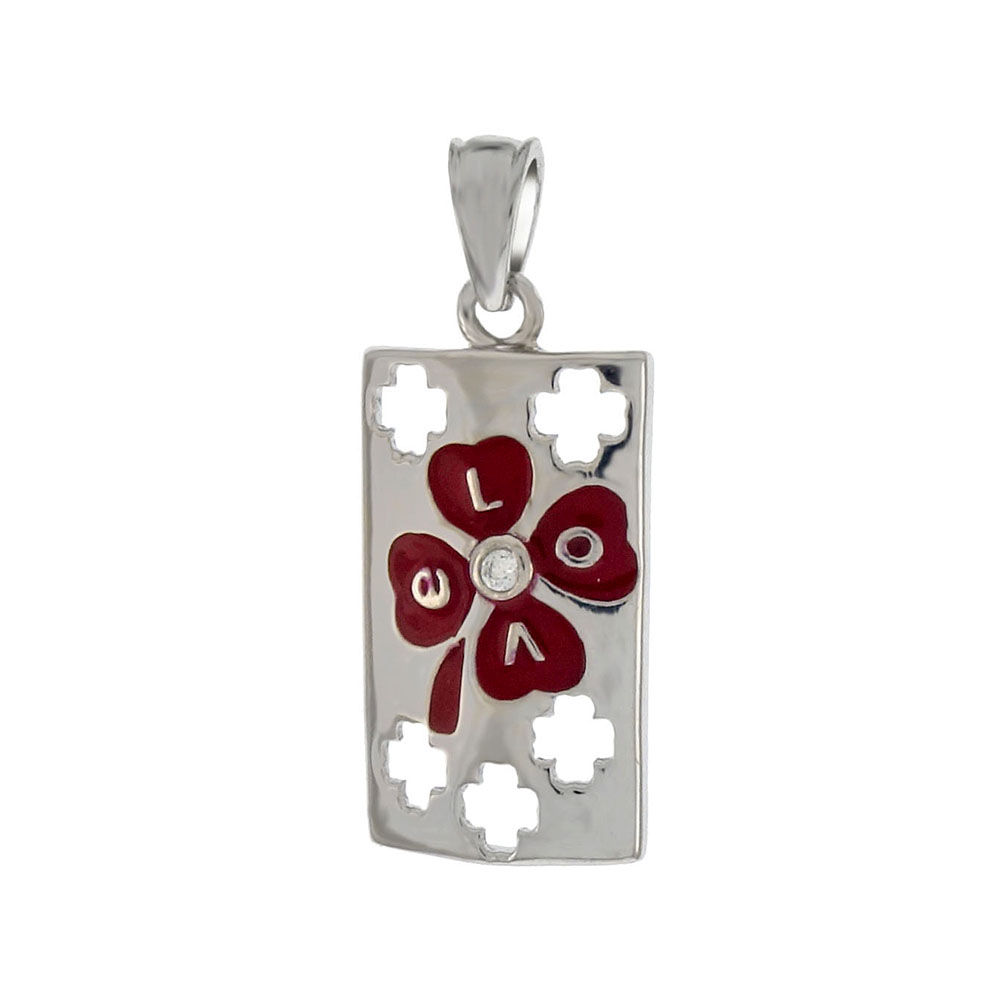 Sterling Silver Red Enamel Clover Leaf On Rectangle Tag Pendant