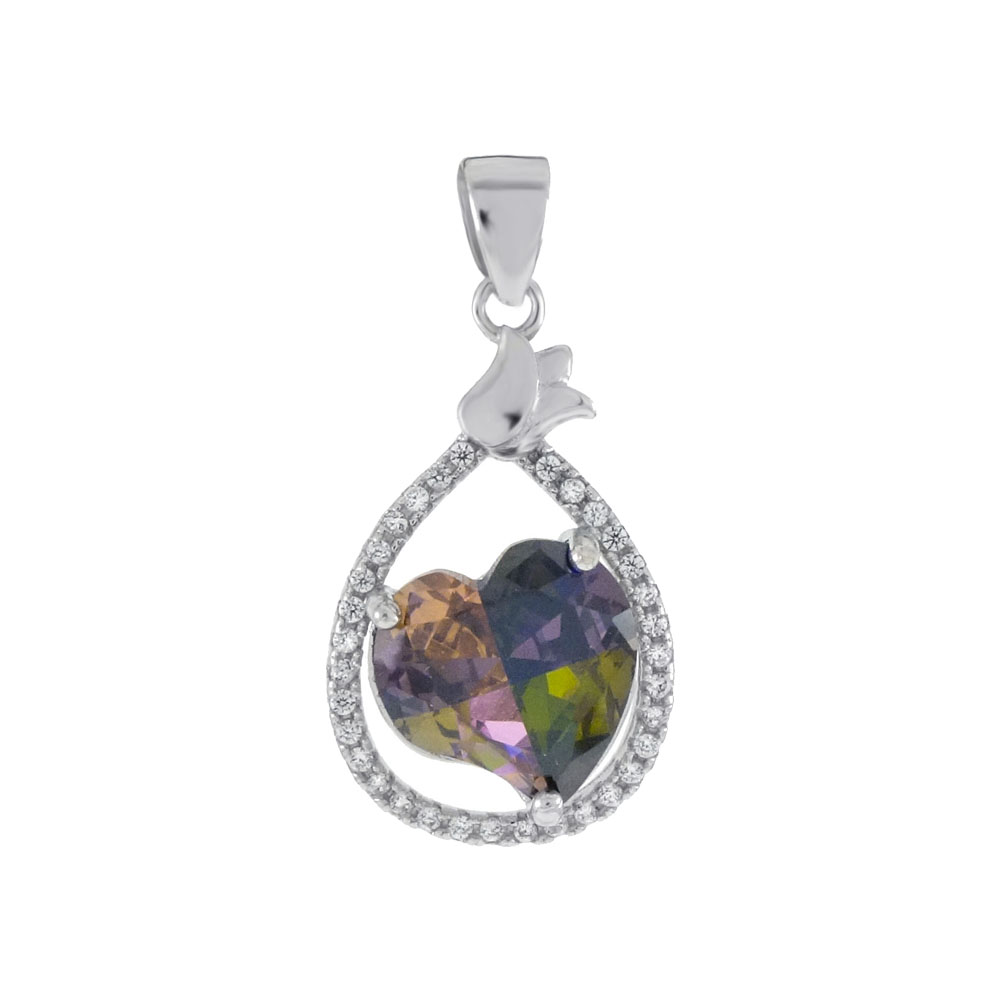 Sterling Silver Colorful CZ Heart Pendant
