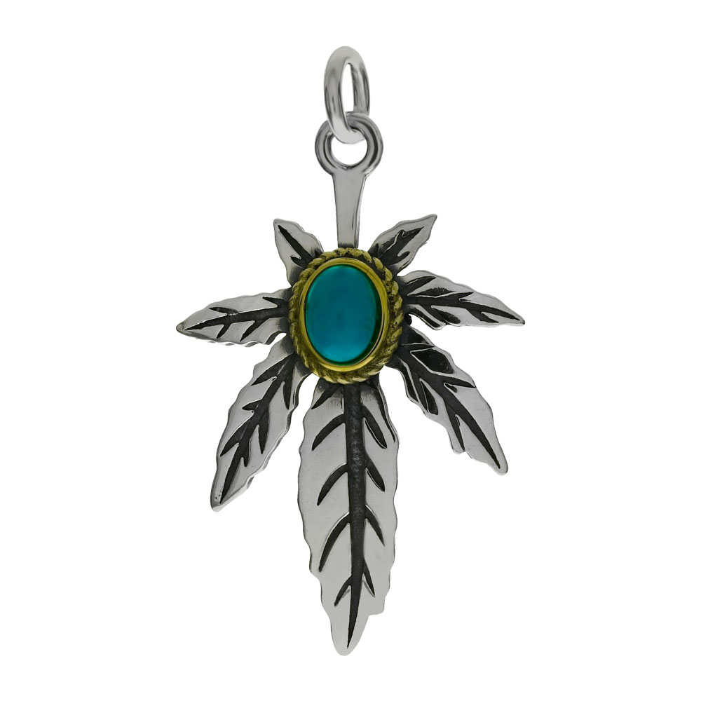 Sterling Silver Oxidized Marijuana Leaf W. Simulated Blue Turquoise Pendant
