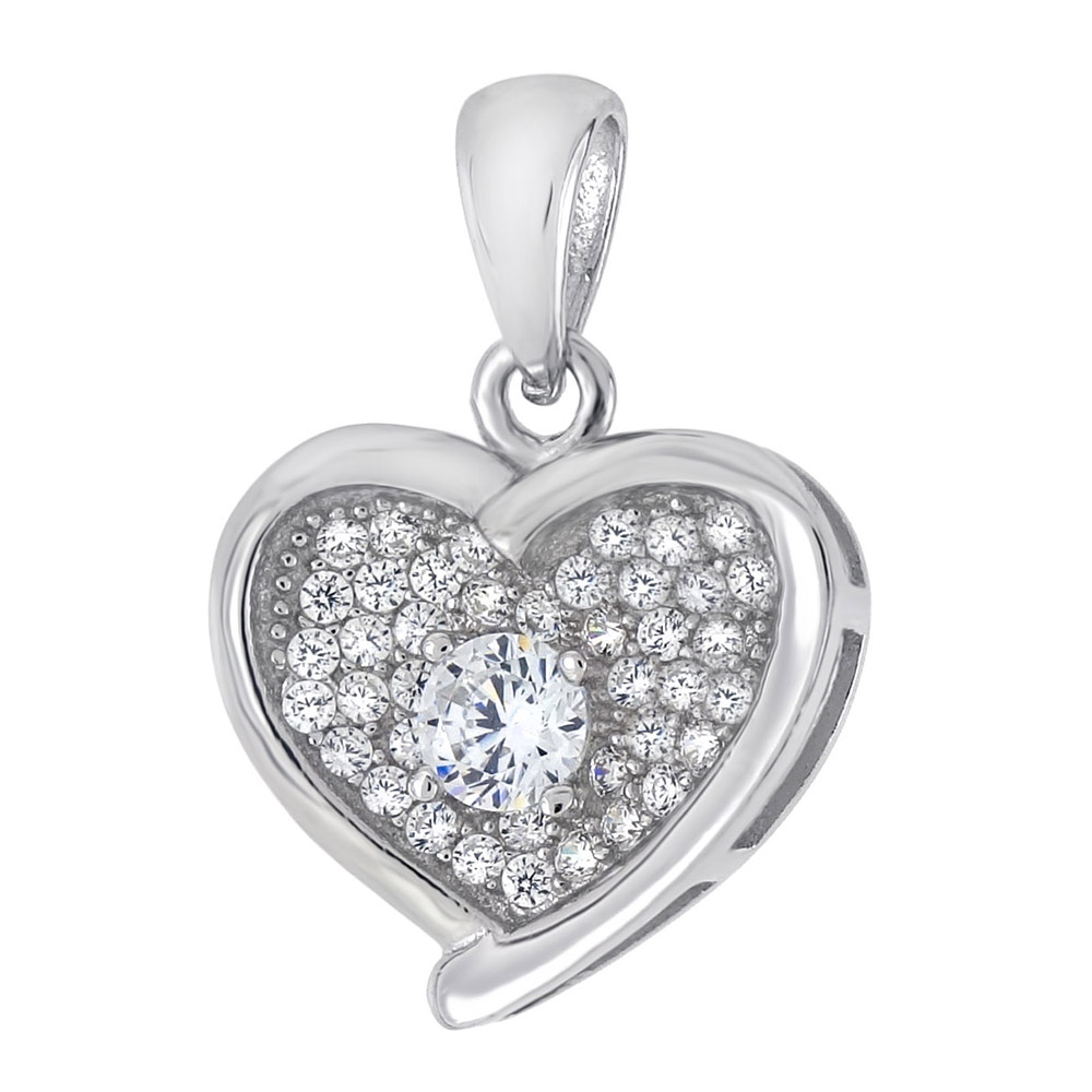 Sterling Silver Pave CZ Heart Pendant