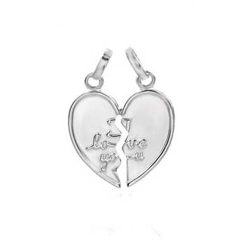 Italian Sterling Silver I LOVE YOU Breakable Heart Pendant