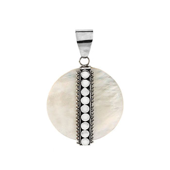 Sterling Silver Bali Shell Round Pendant