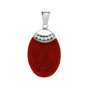 Sterling Silver Oval Coral Pendant