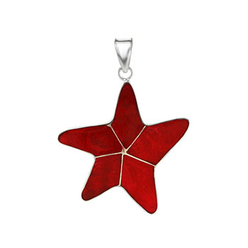 Sterling Silver Starfish Coral Pendant