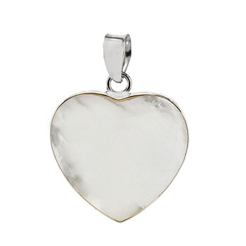 Sterling Silver Pearl Shell Heart Pendant