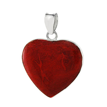 Sterling Silver Red Coral Heart Pendant