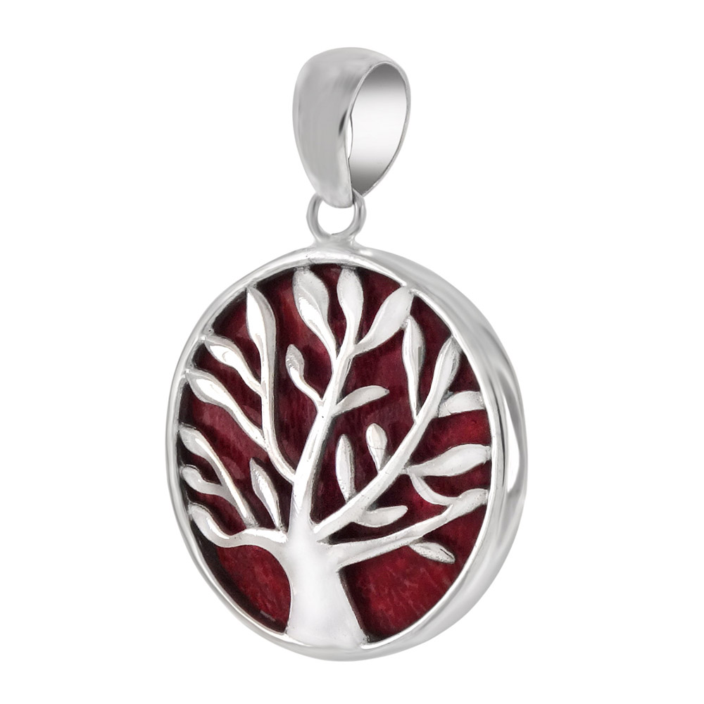 Sterling Silver Tree Of Life Red Coral Pendant