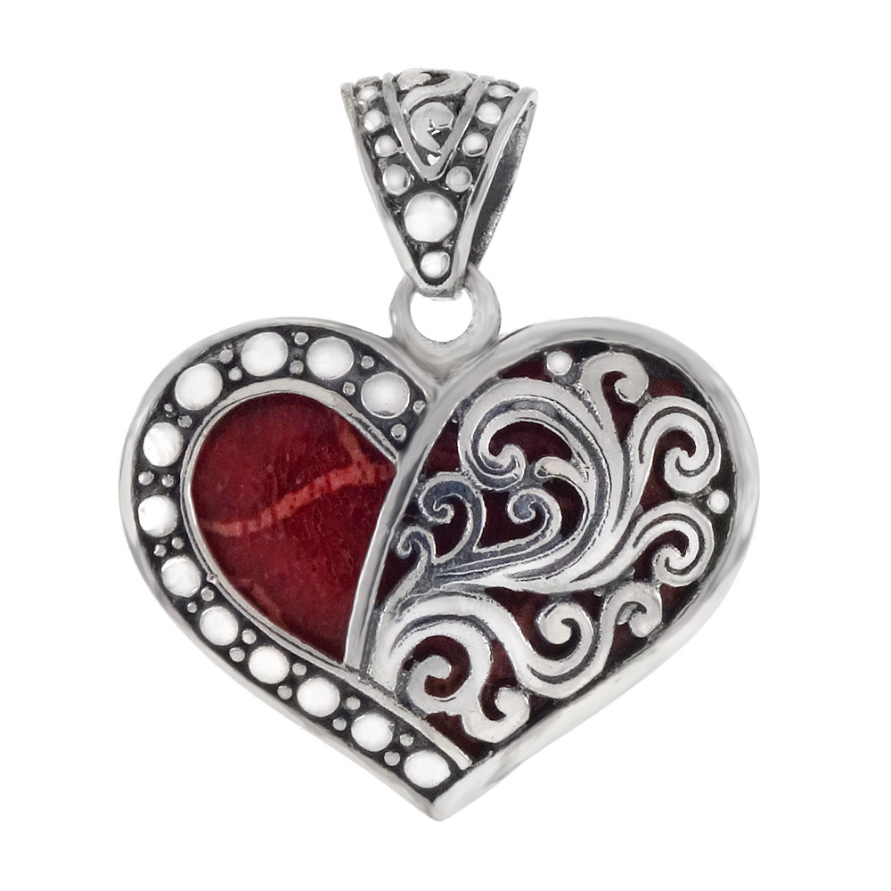 Sterling Silver Red Coral Heart Oxidized Pendant