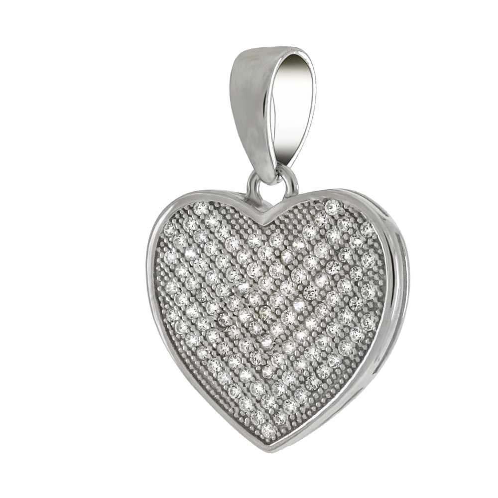 Sterling Silver Pave Cubic Zirconia Heart Pendant